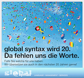 Global Syntax wird 20